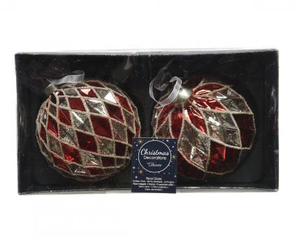 Weihnachtskugeln Diamantschliff aus Glas, Set, 10cm