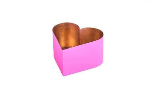Madras Windlicht, Herz, Farbe Hot Pink/Nudegold