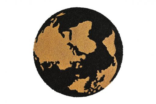 Fußmatte rund, Erdkugel, schwarz/gold