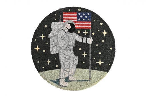 Fußmatte GLOW rund, Astronaut, blau