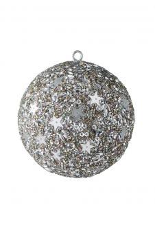 Weihnachtskugel Opium, Sterne, Perlen, Pailletten, silber