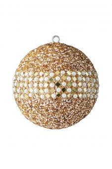 Weihnachtskugel Opium, kleine Spiegelrauten, Perlen, Pailletten, gold/weiß