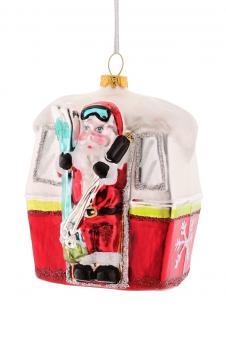Hänger Santa in der Skigondel, rot