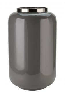 Vase Saigon Farbe Dunkelgrau/Silber XL
