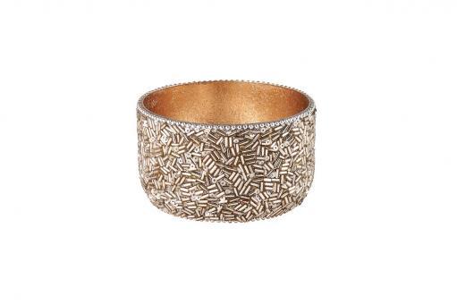 Madras Windlicht, Perlen, Farbe Silber