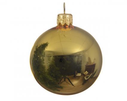 Weihnachtskugeln Glanz Farbe Hellgold 8cm