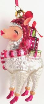 Hänger Alpaka mit Geschenken weiß/pink