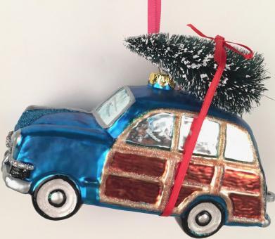 Hänger Auto m. Weihnachtsbaum blau/rot