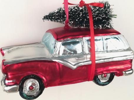 Hänger Auto m. Weihnachtsbaum rot/weiß
