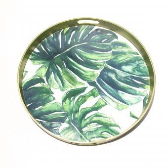 Tablett Monstera Blätter Farbe Grün