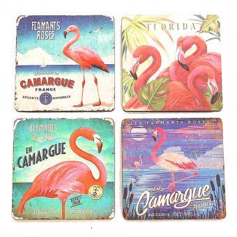 Untersetzer Flamingo quadratisch 4er Set