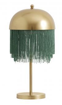 Tischlampe Twenties aus Messing/Grüne Fransen