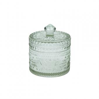 Glasdose aus Recyclingglas mit Deckel, Farbe Klar