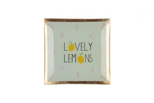 """Glasteller """"Lovely Lemons, Farbe Mint"""