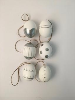 Ostereier weiß/silber Pattern