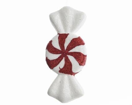 Bonbon aus Kunststoff Farbe Rot/Weiss, Größe M