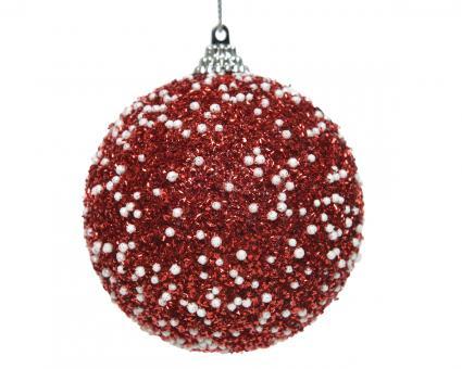 Weihnachtskugel aus Kunststoff Rot Glitter