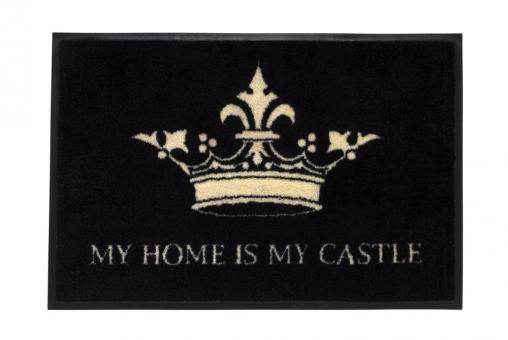 """Fußmatte """"My home is my castle"""" waschbar Farbe Schwarz/Weiß"""
