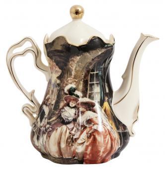 Tee- bzw. Kaffekanne mit Viktorianischem Bilddesign