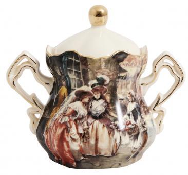 Zuckerdose mit Viktorianischem Bilddesign