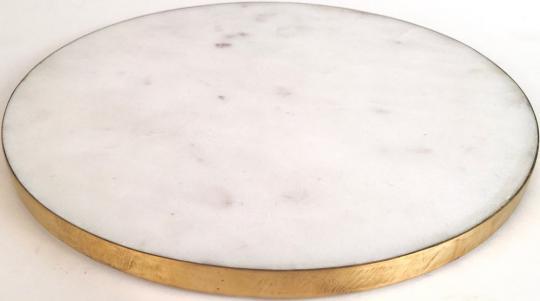 Stone, Marmorplatte, rund, S, weiß/gold