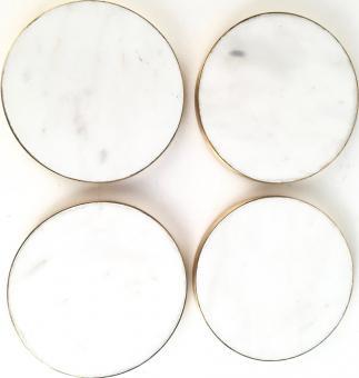 Stone, Untersetzer, rund, 4er Set, weiß/gold