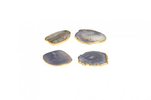 Stone, Untersetzer aus Achat, oval, 4er Set, grau/gold