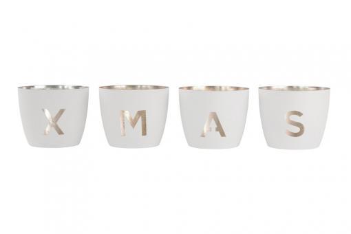 Madras Weihnachtswindlichter XMAS Farbe Weiß/Gold