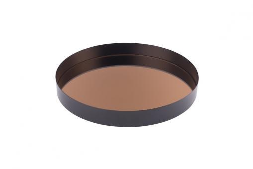 Tablett Mirror Spiegeltablett, M, rund, schwarz/kupfer