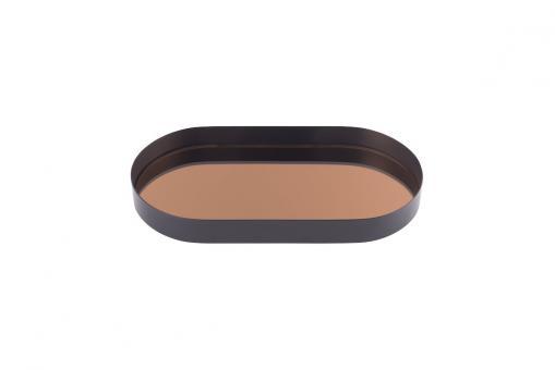 Tablett Mirror Spiegeltablett, S, oval, schwarz/kupfer
