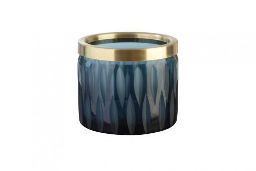 Flagon Windlicht, Olivenschliff mit Goldrand, Farbe Navy