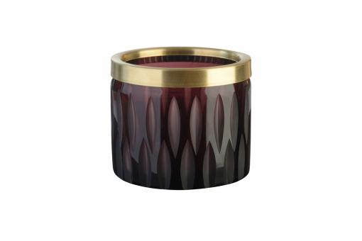 Flagon Windlicht, Olivenschliff mit Goldrand, Farbe Burgundy