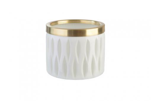 Flagon Windlicht, Olivenschliff mit Goldrand, Farbe Weiß