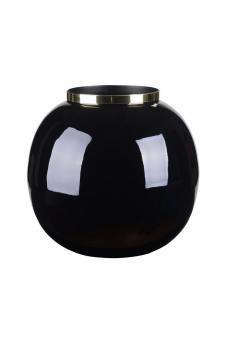 Vase Saigon mit Metallring, Kugel, Farbe Schwarz/Gold