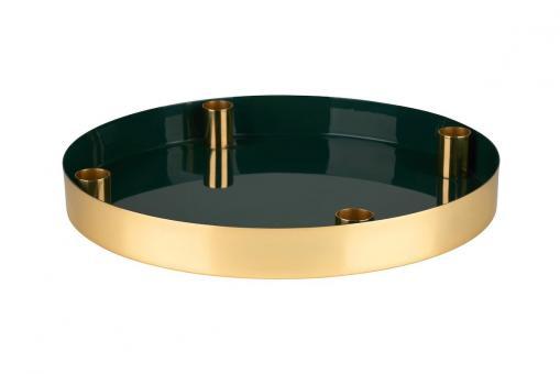 Tablett Layer mit 4 Kerzenhalter, dark olive/gold