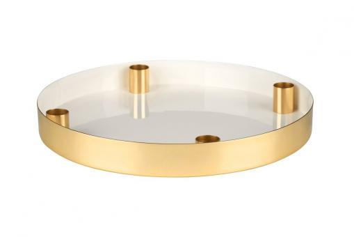 Tablett Layer mit 4 Kerzenhalter, weiß/gold