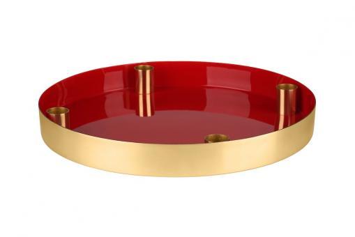 Tablett Layer mit 4 Kerzenhalter, rot/gold