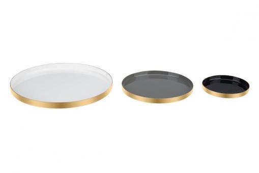 Tablett Layer, 3er Set, Farben weiß/cool grey/schwarz
