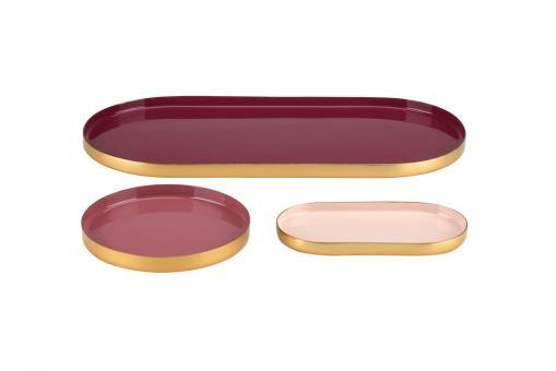 Tablett Layer, 3er Set, Farben burgundy/dusty rose/dahlia red