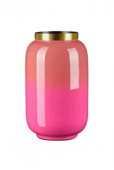 Vase Saigon mit Metallring,  im Farbverlauf, Farbe Coral/Fuchsia, Größe S