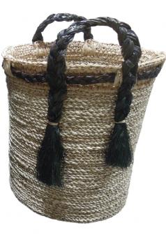 Korb hoch mit Henkel und Trotteln, Farbe Natur