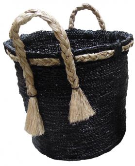 Korb hoch mit Henkel und Trotteln, Farbe Schwarz