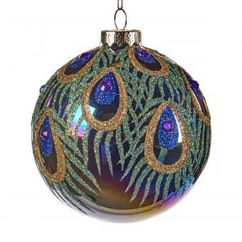 Weihnachtskugel im Pfauenlook aus Glas