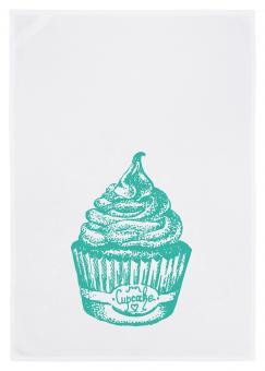 Geschirrtuch weiss, Cupcake, türkis