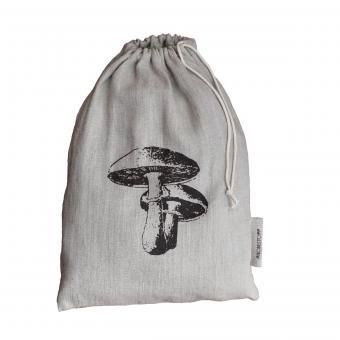 Leinenbeutel natur - Steinpilz graubraun
