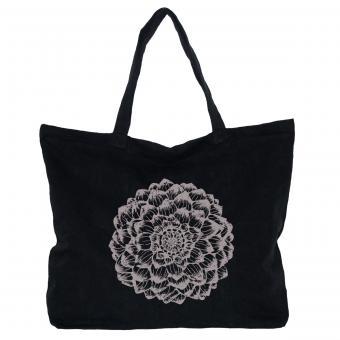 Canvas Tasche, schwarz - Dahlie, perlschlamm