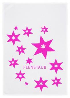 Geschirrtuch weiss, FEENSTAUB (STERNE), neonpink