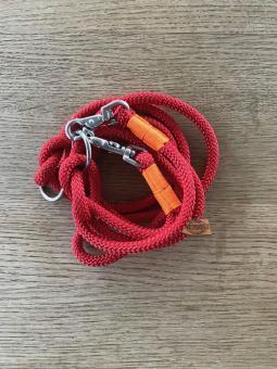 Hundeleine aus Regatta-Segeltau 3m Farbe Rot mit orangefarbener Takelage