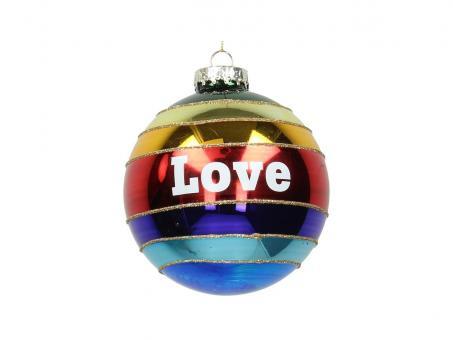 Weihnachtskugel Ornament Rainbow Love, Farbe Bunt