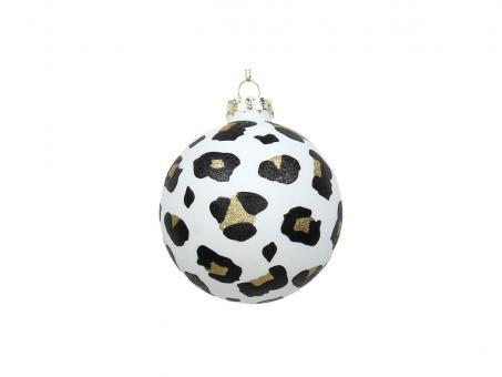 Weihnachtskugel Ornament Leopard, Farbe Weiß